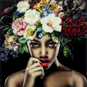 Постер на стеклянной основе Pretty Flower Woman 120X120 CM