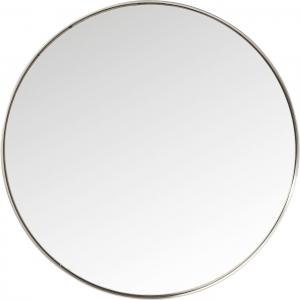 Круглое зеркало в стальной раме Curve Ø100 CM серебряного цвета