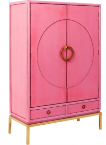 Шкаф в китайском стиле Disk 120X55X180 CM розового цвета