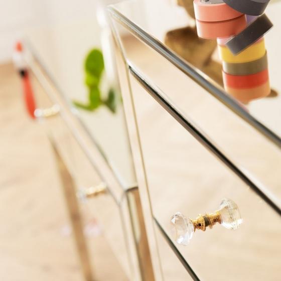 Шифоньер зеркальный Luxury 49X41X110 CM с золотым оттенком 7