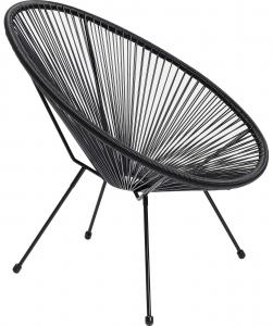 Кресло из стали и полиэтиленовой нити Spaghetti 73X78X85 CM чёрного цвета