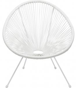 Кресло из стали и полиэтиленовой нити Spaghetti 73X78X85 CM белого цвета