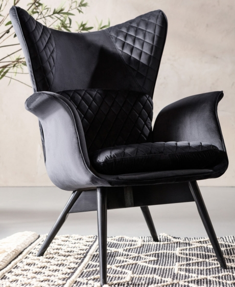 Кресло бархатное Tudor 78X80X100 CM чёрного цвета 11