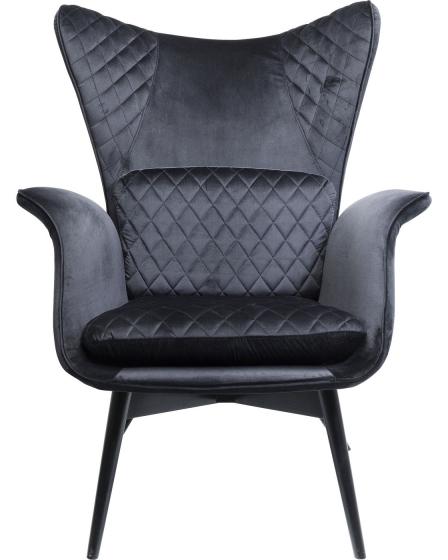 Кресло бархатное Tudor 78X80X100 CM чёрного цвета 2