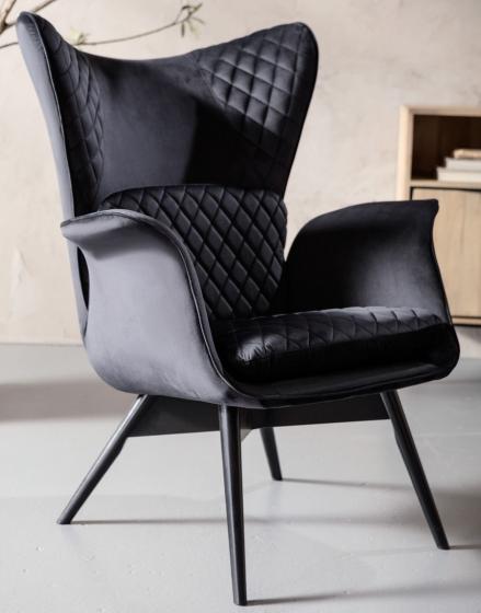 Кресло бархатное Tudor 78X80X100 CM чёрного цвета 10