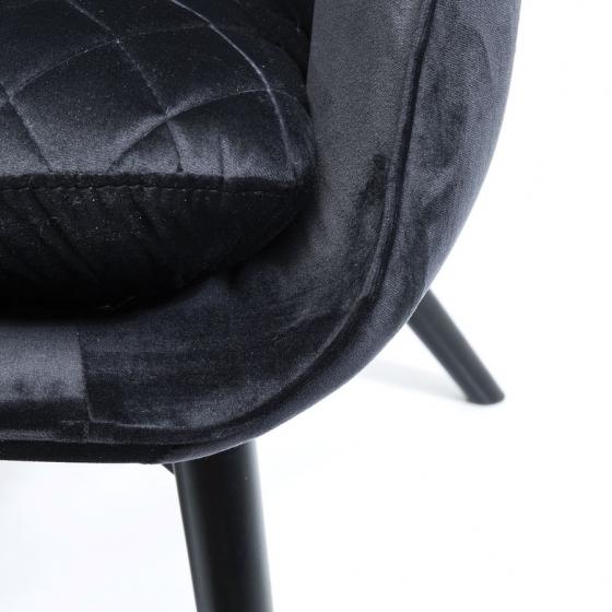 Кресло бархатное Tudor 78X80X100 CM чёрного цвета 4