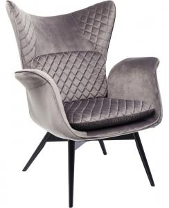 Кресло бархатное Tudor 78X80X100 CM серого цвета