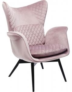 Кресло бархатное Tudor 78X80X100 CM розового цвета