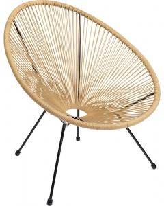 Кресло из стали и полиэтиленовой нити Spaghetti 73X78X85 CM бежевого цвета