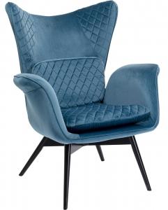 Кресло бархатное Tudor 78X80X100 CM синего цвета