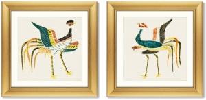 Диптих Japanese vintage woodblock print 61X61 / 61X61 CM
