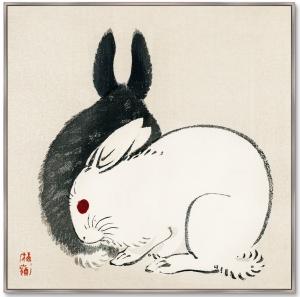 Постер Black and white rabbits 105X105 CM