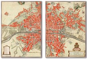 Диптих Map of Paris 75X105 / 75X105 CM
