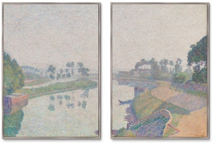 Диптих Banks of the Oise at Dawn 75X105 / 75X105 CM