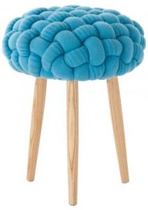 Мягкий табурет Knitted 35X35X52 CM голубой