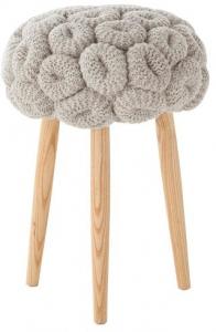 Мягкий табурет Knitted 35X35X52 CM серый