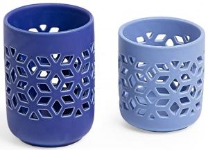Набор из двух подсвечников Leti 9X9X10 / 9X9X13 CM сине голубого цвета
