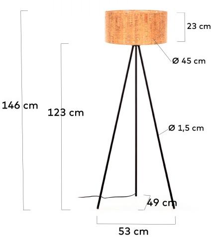 Торшер с абажуром из пробкового дерева Shaden 53X49X146 CM 5