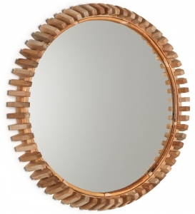 Кругло зеркало в раме из тика Polke Ø52 CM