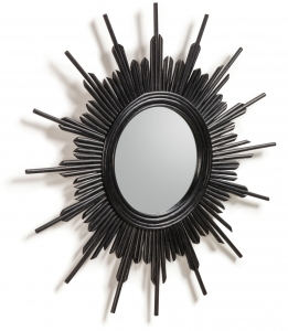 Зеркало в раме из ротанга Marelli Ø70 CM black