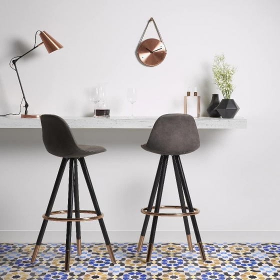 Барный стул Stag 40X40X97 CM серый на чёрных ножках  7