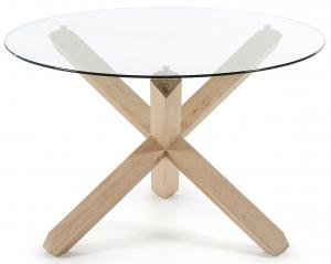 Круглый стол из массива дуба и стекла Nori 120X120X77 CM