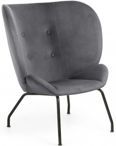 Мягкое кресло в бархатной ткани Violet 98X90X82 CM серое