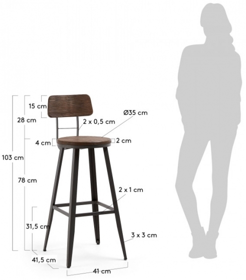 Барный стул Rihana 42X51X104 CM 4