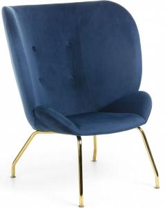 Мягкое кресло в бархатной ткани Violet 98X90X82 CM синее