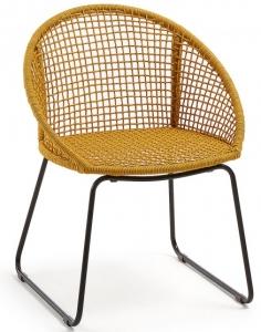 Стильный стул на стальной раме Sandrine 85X66X58 CM горчичного цвета