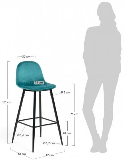Барный стул Nilson 48X47X101 CM бирюзовый 7