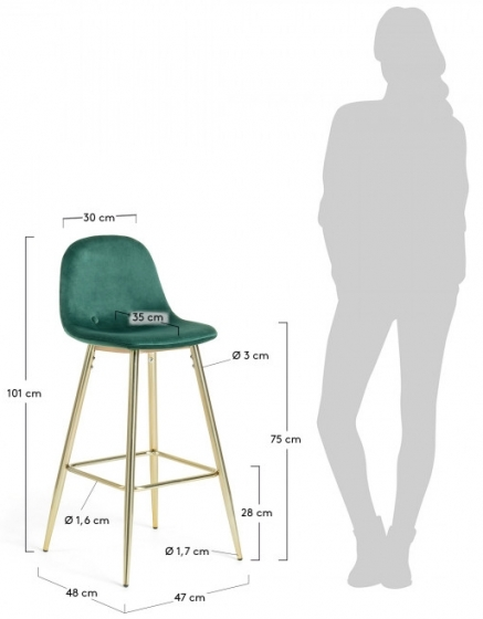 Барный стул Nilson 48X47X101 CM зелёный 7