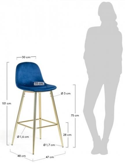 Барный стул Nilson 48X47X101 CM синий 7