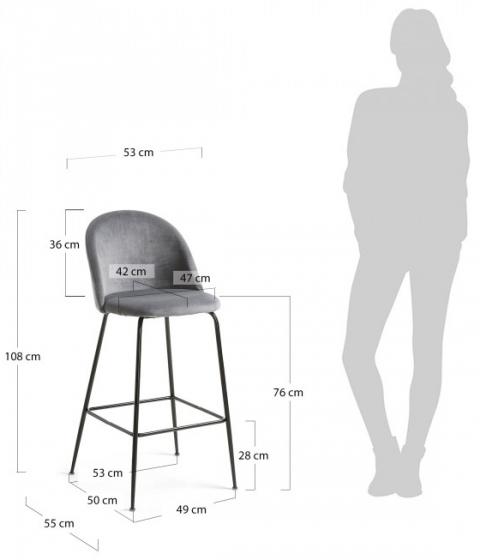 Барный стул Mystere 55X50X108 CM серый 6