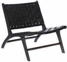 Кресло из тика и кожи Calixta 65X76X70 CM