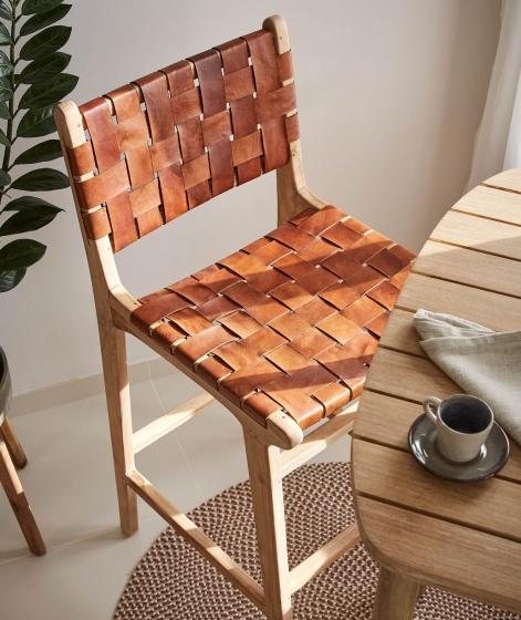 Барный стул из тика и кожи Calixta 47X62X110 CM 3