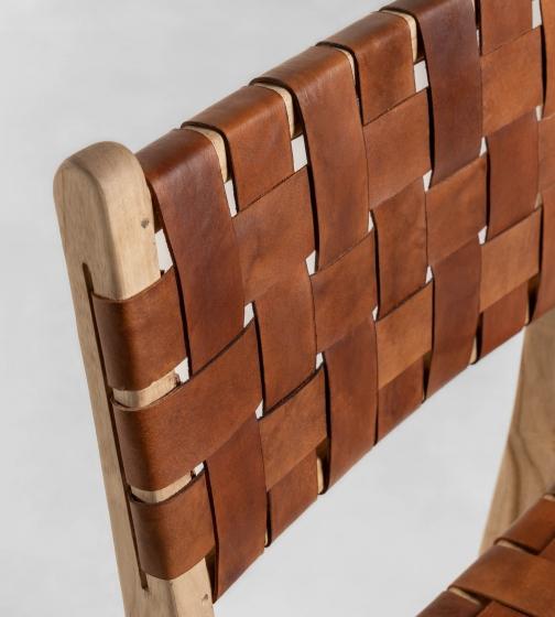 Барный стул из тика и кожи Calixta 47X62X110 CM 2