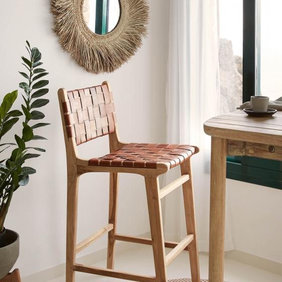 Барный стул из тика и кожи Calixta 47X62X110 CM 5