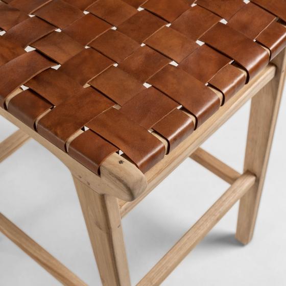 Барный стул из тика и кожи Calixta 47X62X110 CM 4