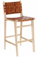 Барный стул из тика и кожи Calixta 47X62X110 CM