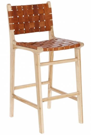 Барный стул из тика и кожи Calixta 47X62X110 CM 1