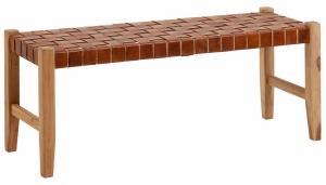 Скамейка из тика и кожи Calixta 120X47X47 CM