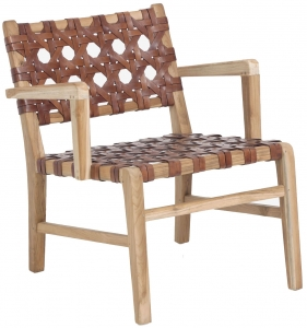 Кресло из тика и кожи Nuru 73X58X74 CM