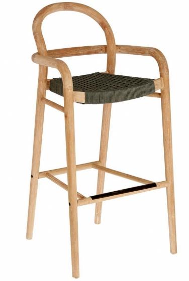 Барный стул из эвкалипта Sheryl 54X56X110 CM зелёного цвета 1
