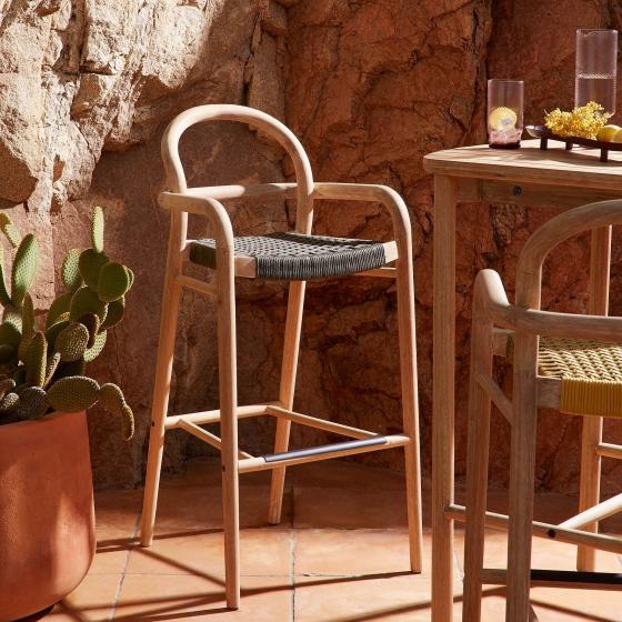 Барный стул из эвкалипта Sheryl 54X56X110 CM зелёного цвета 5