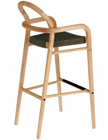 Барный стул из эвкалипта Sheryl 54X56X110 CM зелёного цвета 2