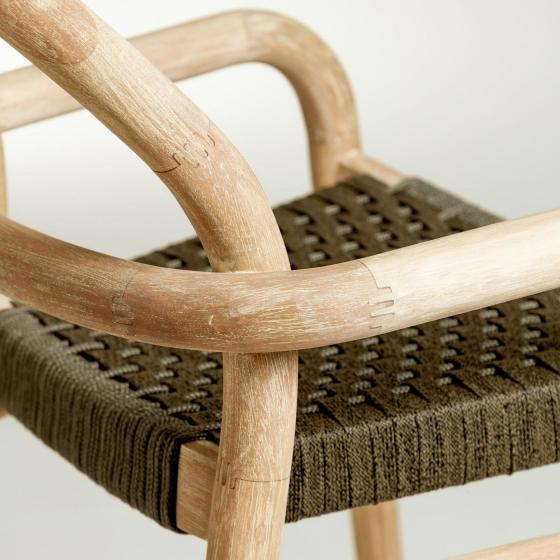 Барный стул из эвкалипта Sheryl 54X56X110 CM зелёного цвета 4