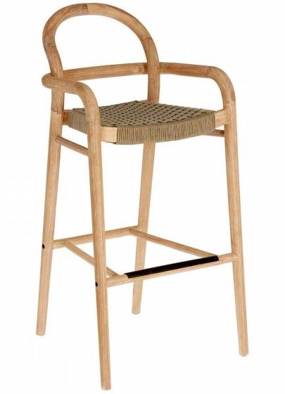 Барный стул из эвкалипта Sheryl 54X56X110 CM бежевого цвета 1