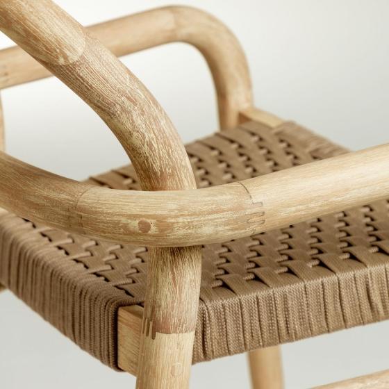 Барный стул из эвкалипта Sheryl 54X56X110 CM бежевого цвета 4