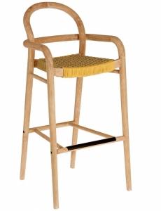 Барный стул из эвкалипта Sheryl 54X56X110 CM жёлтого цвета